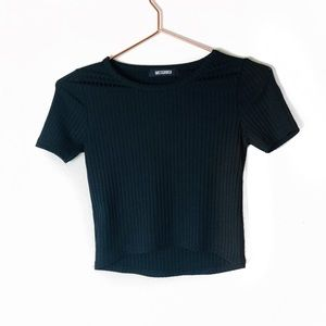 NWOT Missguided Black Ribbed Crop Top XS